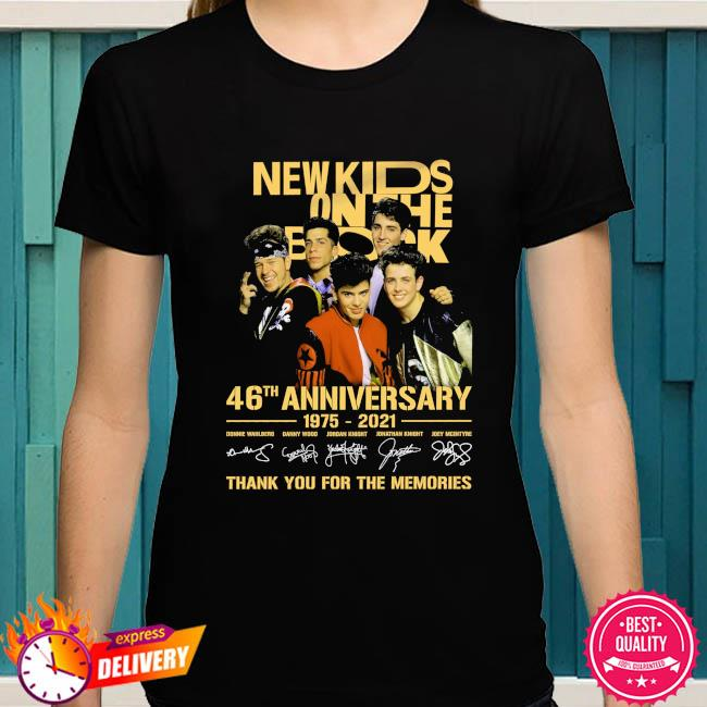 New Kids On The Block 46th anniversary 1975 2022 thank you for the memories signatures shirt anniversary 1972 2022 thank you for the memories signatures shirt