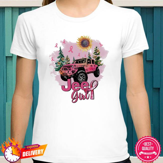 Sunflower and Jeep Girl Breast Cancer shirt